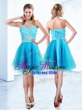 Luxury Sleeveless Beading and Ruching Lace Up Teens Party Dress
