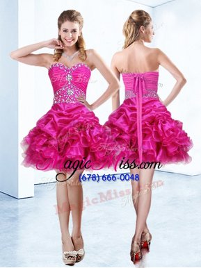 Cute Hot Pink Ball Gowns Beading and Ruffles and Pick Ups Juniors Party Dress Lace Up Organza Sleeveless Mini Length