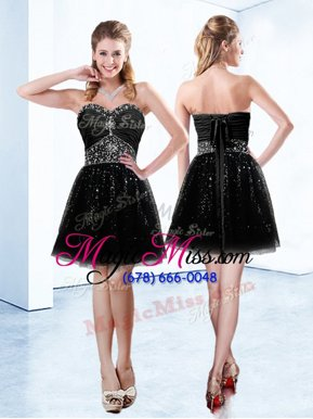 Sumptuous Black Sleeveless Tulle Lace Up Club Wear for Prom and Party