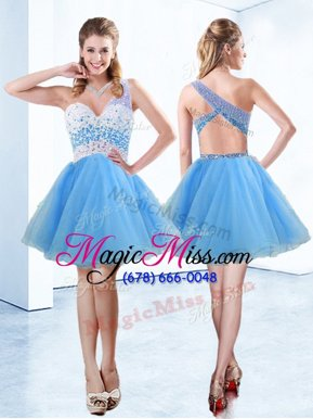 Luxury One Shoulder Knee Length A-line Sleeveless Baby Blue Prom Homecoming Dress Criss Cross