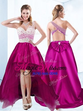 Stylish Satin Sweetheart Sleeveless Criss Cross Beading Military Ball Dresses in Fuchsia