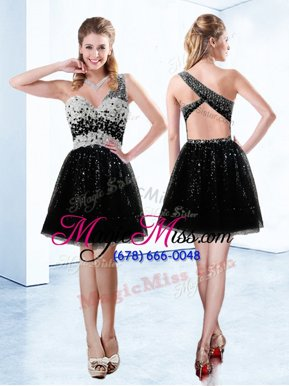 Flare Mini Length Black Tulle Sleeveless Beading and Sequins