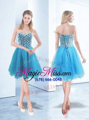 Eye-catching Baby Blue Sleeveless Organza Lace Up Cocktail Dresses for Prom and Party