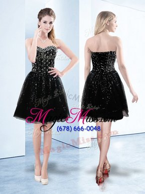 New Arrival Tulle Sweetheart Sleeveless Lace Up Beading and Sequins Prom Party Dress in Black