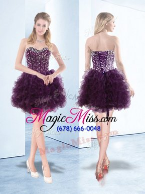 Most Popular Dark Purple Hoco Dress Prom and Party and For with Beading and Ruffles Sweetheart Sleeveless Lace Up