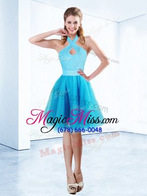 Edgy Halter Top Sleeveless Organza Knee Length Zipper Prom Homecoming Dress in Aqua Blue for with Ruching and Belt