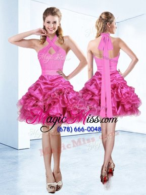 Modern Halter Top Hot Pink Sleeveless Organza Zipper Homecoming Dress for Prom and Party