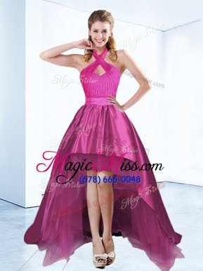 Traditional Halter Top High Low Zipper Military Ball Dresses For Women Fuchsia and In for Prom and Party with Ruching and Bowknot and Belt