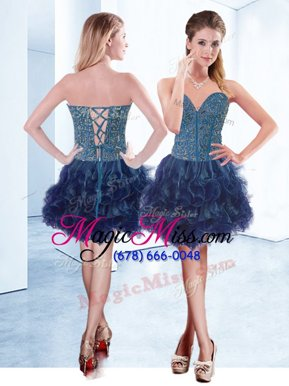 On Sale Sleeveless Mini Length Beading Lace Up Teens Party Dress with Navy Blue