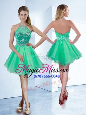 Nice Halter Top Organza Sleeveless Knee Length Homecoming Gowns and Beading