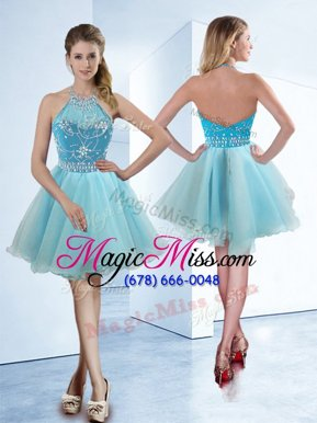 Dramatic Halter Top Knee Length Zipper Prom Gown Light Blue and In for Prom and Party with Beading