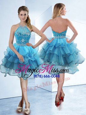 Sexy Ruffled A-line Dress for Prom Baby Blue Halter Top Organza Sleeveless Tea Length Zipper