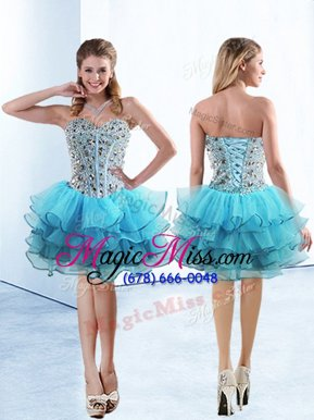 Baby Blue Lace Up Beading and Ruffled Layers Sleeveless Knee Length