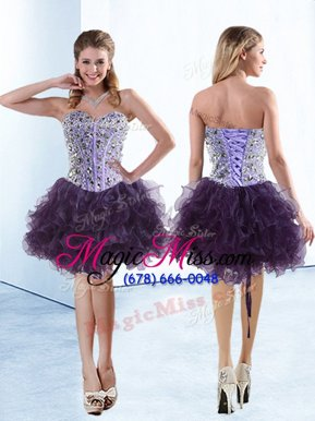 Most Popular Eggplant Purple Sweetheart Neckline Beading and Ruffles Party Dress Wholesale Sleeveless Lace Up