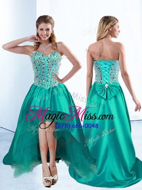 Elegant Teal Lace Up Sweetheart Beading and Bowknot Military Ball Dresses For Women Satin Sleeveless