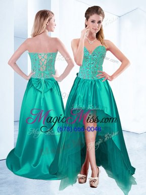 Comfortable Aqua Blue Satin Lace Up Celebrity Inspired Dress Sleeveless High Low Beading