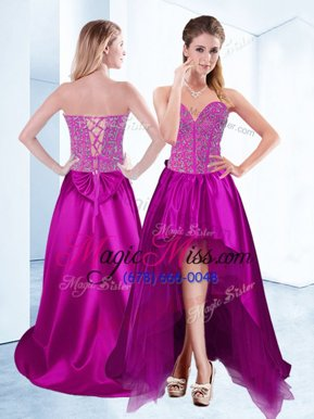Exceptional High Low Fuchsia Military Ball Dresses Satin Sleeveless Beading