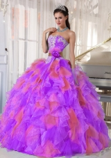 Organza Appliques and Ruffles Sweetheart Quinceanera Dress in Multi-color