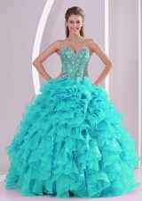 Elegant Aqua Blue Ball Gown Sweetheart Ruffles and Beaded Decorate Quinceanera Gowns in Sweet 16