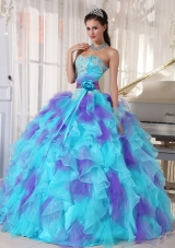 2014 Aqua and Purple Organza Appliques Decorate Quinceanera Dress