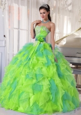 2014 Sweetehart Organza Quinceanera Dress with Appliques and Ruffles