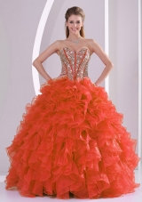 Ball Gown Sweetheart Ruffles and Beaded Decorate Red Quinceanera Gowns