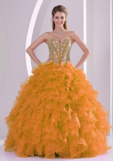 Orange Sweetheart Beautiful Quinceanera Gowns with Ruffles and Beading