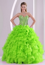 Beading Ball Gown Sweetheart Green Quinceanera Gowns for 2014