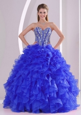 2014 Ball Gown Sweetheart Blue Quinceanera Gowns with Ruffles and Beading