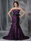 Black and Purple Mermaid Strapless Court Train Sash Taffeta and Lace Prom Dress