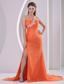 Orange Red One Shoulder High Slit Court Train 2013 Prom Pageant Dress Appliques and Ruch