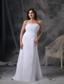 White Column Strapless Floor-length Chiffon Beading and Ruch Prom / Celebrity Dress