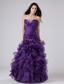 Fashionable Beading And Ruffles Organza Strapless Floor-length Column Prom Dress Purple