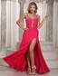 Wholesale High Slit Beaded Spaghetti Straps Coral Red 2013 Prom Dress Chiffon