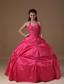 Coral Red Ball Gown Halter Floor-length Taffeta Beading Quinceanera Dress