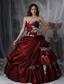 Burgundy Ball Gown Strapless Floor-length Taffeta Appliques Quinceanera Dress