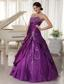 Taffeta and Organza Dark Purple A-line Sweetheart Quinceanera Gowns With Appliques and Beading