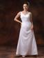 V-neck Ankle-length Satin Mother Of The Bride Dress For Custom Made In Douglasville Georgia
