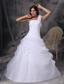 White A-line One Shoulder Floor-length Organza Hand Made Flowers and Ruch Quinceanera Dress