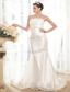 Exclusive Mermaid / Trumpet Strapless Court Train Taffeta Beading Wedding Dress