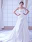 Romantic A-line Sweetheart Chapel Train Taffeta Beading Wedding Dress