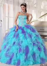 Sweetheart Appliques and Ruffles Organza Quinceanera Dress
