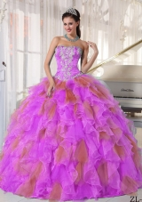 Appliques and Flowers Organza Quinceanera Dress for Sweet 16