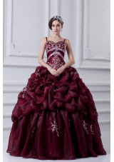 2015 Spaghetti Straps Beading and Appliques Burgundy Quinceanera Dress