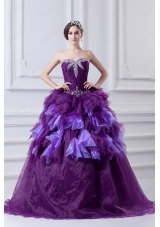 Beading Multi-color Sweetheart Ball Gown Quinceanera Dress with Ruffles