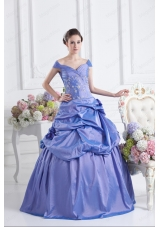 Blue Off The Shoulder Pick Ups Purple Quinceanera Dress with Beading