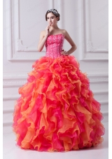 Spring Puffy Multi-color Strapless Beading 2015 Quinceanera Dress with Ruffles