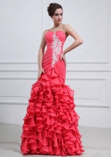 2015 Brand New Mermaid Coral Red Appliques and Ruffles Prom Dresses