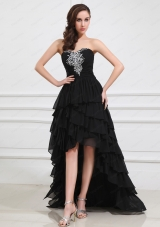 2015 The Super Hot Sweetheart High Low Beading and Ruffled Layers Prom Dress