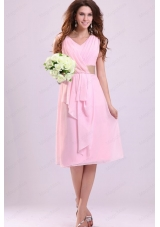 Baby Pink Empire V Neck Chiffon Bridesmaid Dress with Ruching